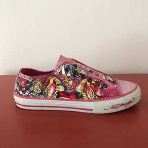 Ed Hardy Pink Skull No Lace Slip On Sneaker